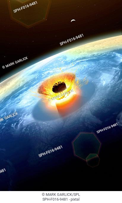 Asteroid impact. Illustration of a large asteroid colliding with Earth on the Yucatan Peninsula in (what is modern day) Mexico