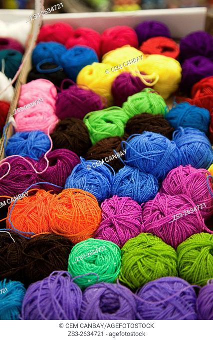 Colorful balls of wool for sale at the market, San Cristobal de las Casas, Chiapas State, Mexico, Central America