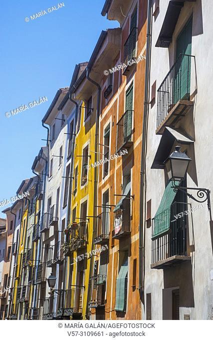 Facades of houses. Cuenca, Spain