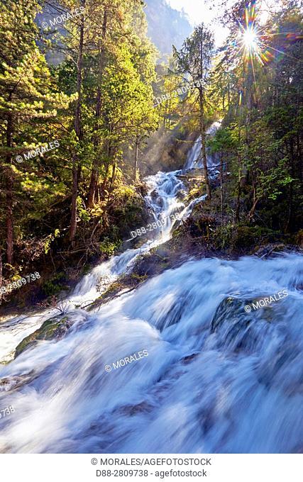 Asia, China, Sichuan province, UNESCO World Heritage Site, Jiuzhaigou National Park, Panda lake waterfall