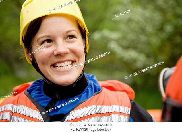 Rafting participant on Spokane River, Spokane, Washington