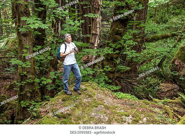 A man is surrounded by nature in the cowichan valley on vancouver island, british columbia canada