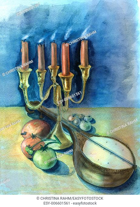 Candles and mandolin. Original watercolor and gouache painting