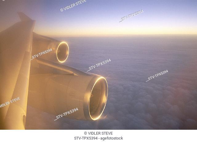 Above, Aeroplane, Clouds, Engine, Holiday, Landmark, Tourism, Travel, Vacation, Wing