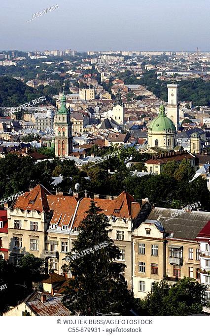 Lviv, Lvov, cityscape from Vysoky Zamok High Castle fortress, Western Ukraine