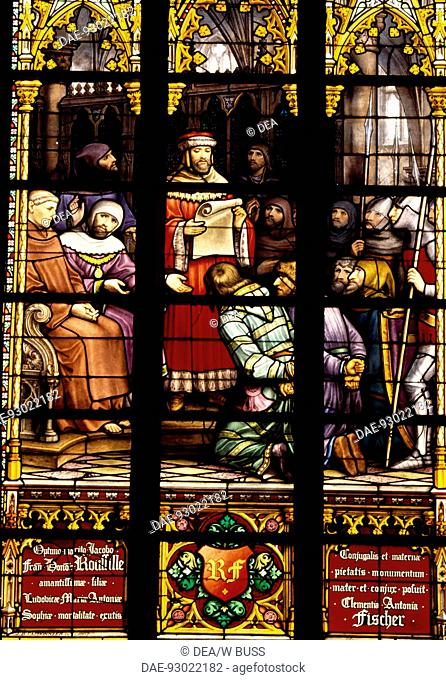 Stained-glass window from the Brabantine Gothic style, St Michael and St Gudula Cathedral, Brussels. Detail. Belgium
