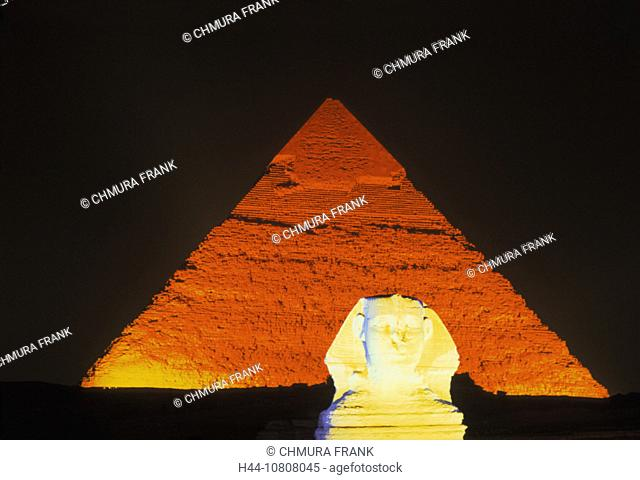 At night, Cheops pyramide, Egypt, North Africa, Giza, Gizeh, Lightshow, Night, Show, Sphinx, Sphinxes