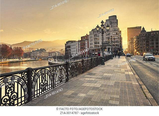 Arenal bridge over Nervion river. Bilbao. Biscay. Basque Country. Spain