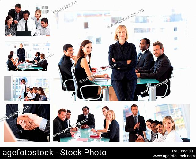 Collage of businesspeople in different situations posing