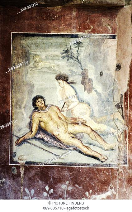 Erotic painting at House of Octavius Quartio, ruins of Pompeii. Italy