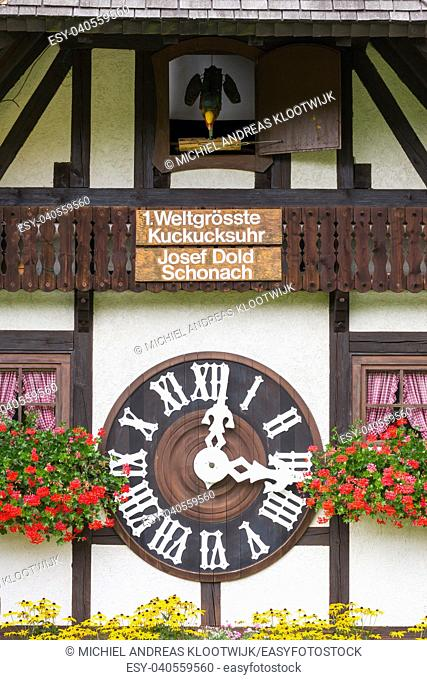 TRIBERG, GERMANY - AUGUST 21 2017: Biggest Cuckoo Clock in the World at Schonach