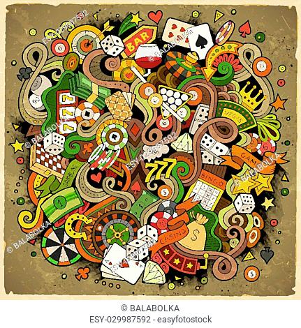 Cartoon hand-drawn doodles casino, gambling illustration. Colorful detailed, with lots of objects vector design background