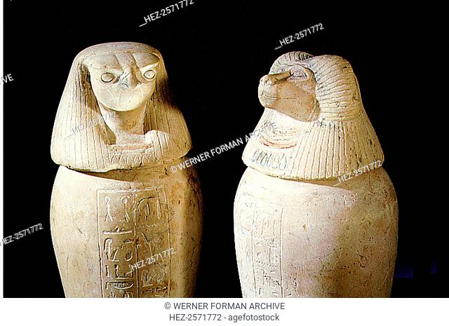 Two of a set of four canopic jars used to preserve the internal organs of Prince Hornakht each in the form of one of the Four Sons of Horus