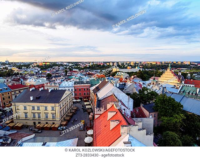 Poland, Lublin Voivodeship, City of Lublin, Old Town, Elevated view of the Market Square