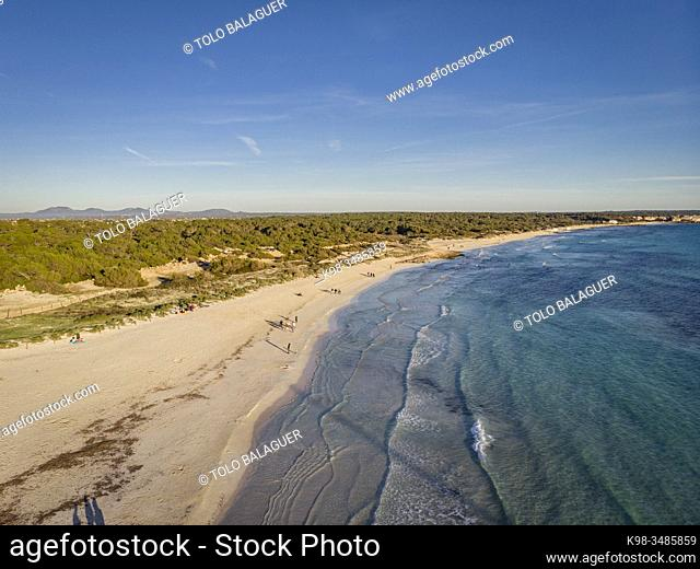 Sa Rapita beach, Campos del Puerto, Mallorca, Balearic Islands, Spain
