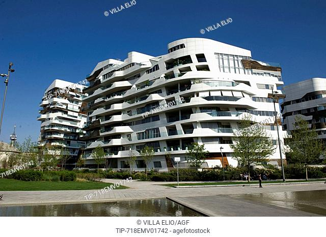 Europe. Italy. Lombardy. Milan. Skyscraper in Citylife district, residence designed by Zaha Hadid