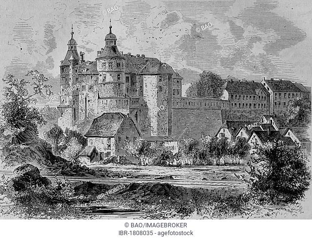 Castle Montbeliard, Montbeliard, Doubs, France, historical illustration, Illustrierte Kriegschronik 1870 - 1871 illustrated chronicle of war
