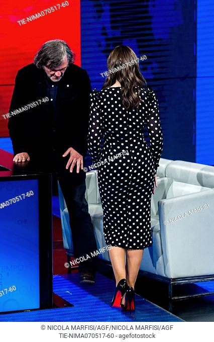 The director Emir Kusturica with the actress Monica Bellucci during the tv show Che tempo che fa, Milan, ITALY-08-05-2017