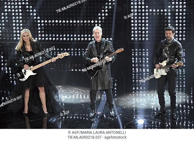 Claudio Baglioni, Michelle Hunziker, Pierfrancesco Favino during Sanremo italian music festival, Sanremo, Italy 09/02/2018