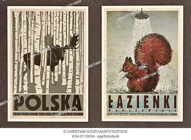 reproduction of posters by Ryszard Kaja, Plakatu gallery, Stolarska street, Krakow, Malopolska Province (Lesser Poland), Poland, Central Europe