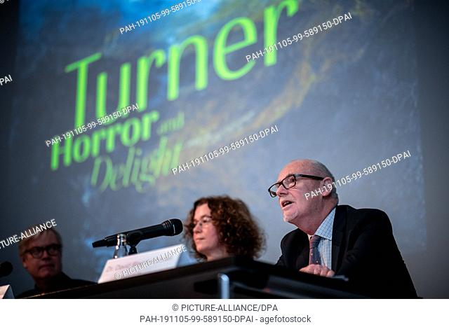 "05 November 2019, North Rhine-Westphalia, Münster: Press conference with Dr David Blayney Brown, Tate Museum in front of the exhibition """"Turner"
