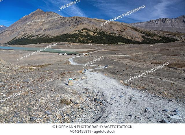 Landscape and footpath to the Columbia Icefield Glacier at the Columbia Icefield Parkways, Alberta, Canada