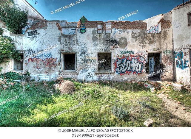 Ruined building in Madrid, Spain
