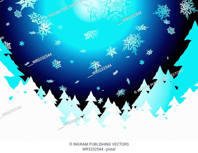 Christmas background showing snow fall in the evening sky