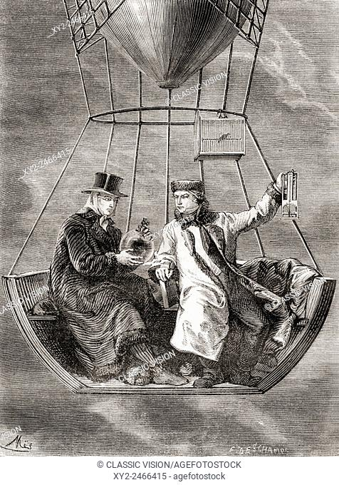 Gay-Lussac and Biot conducting physics experiments in a hot air balloon, 1804. Joseph Louis Gay-Lussac also Louis Joseph Gay-Lussac; 1778-1850