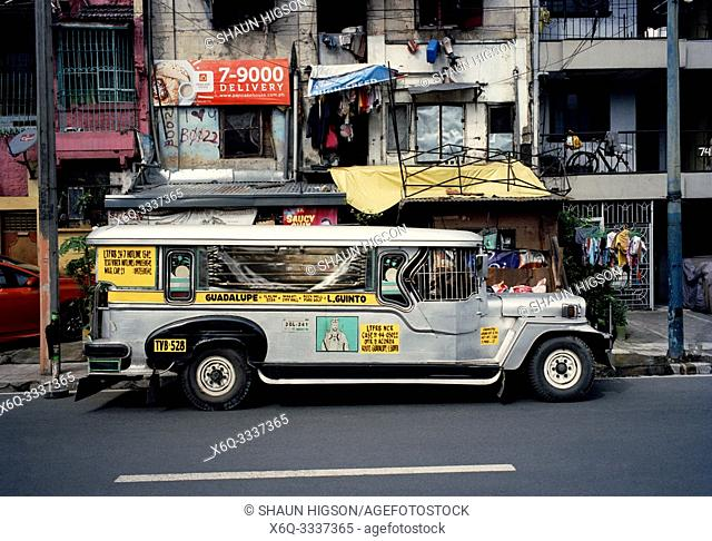 Jeepney in Makati in Manila in Luzon Metro Manila in the Philippines in Southeast Asia Far East