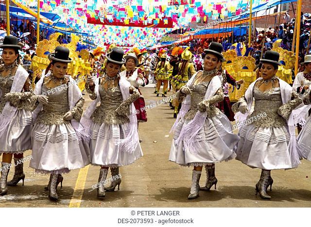 Morenada Dancers In The Procession Of The Carnaval De Oruro, Oruro, Bolivia