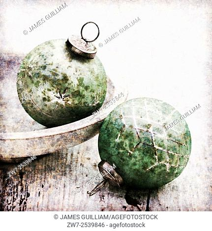 Antique styled glass Christmas baubles