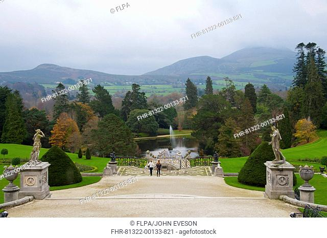 View of landscaped gardens of country estate, Powerscourt House, Enniskerry, County Wicklow, Ireland, november