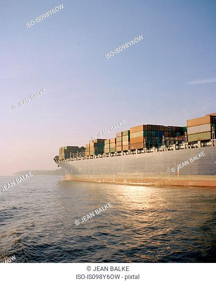 Cargo ship leaving harbour