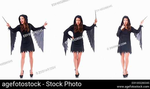 Woman with magical stick isolated on white