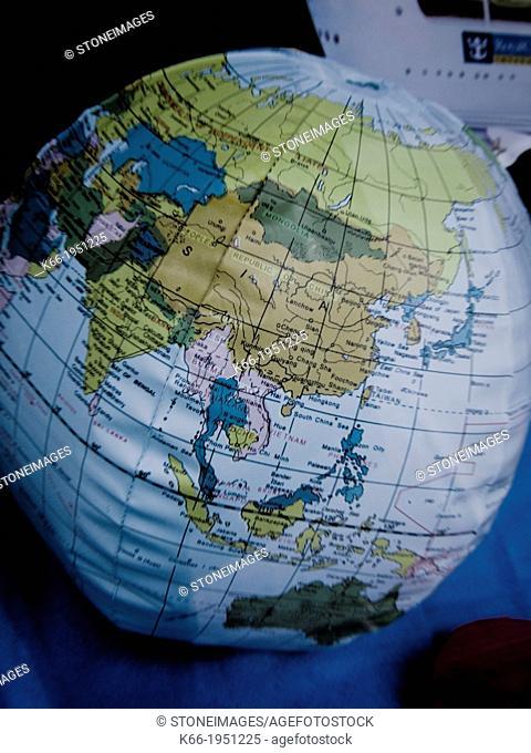 Plastic earth globe