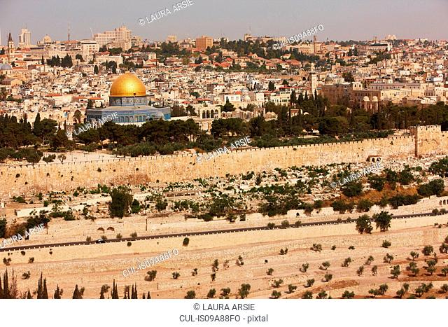 View of Temple Mount from Mount Zion, Jerusalem, Israel