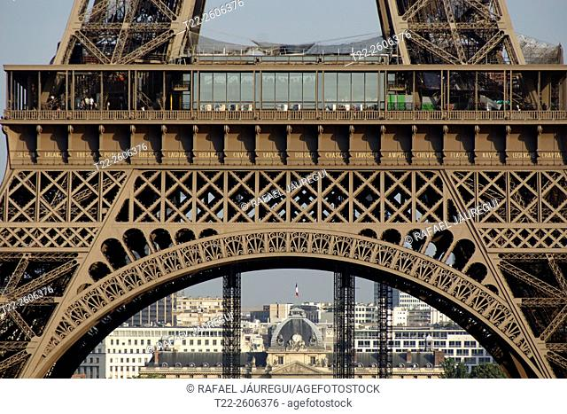 Paris (France). Details of the structure of the first floor of the Eiffel Tower