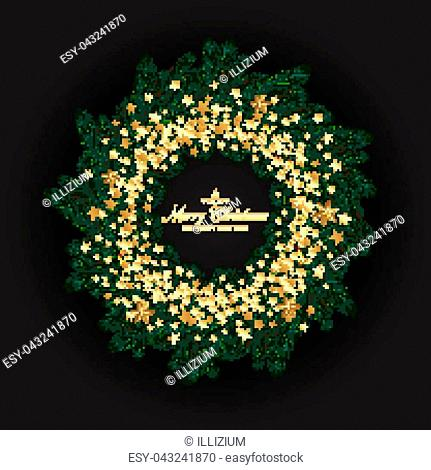 Christmas Wreath Made of Naturalistic Looking Pine Branches Decorated with Gold Stars. Vector