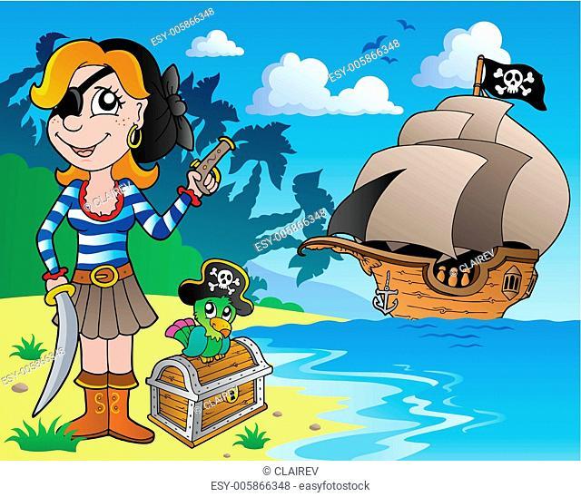 Pirate girl on coast 1
