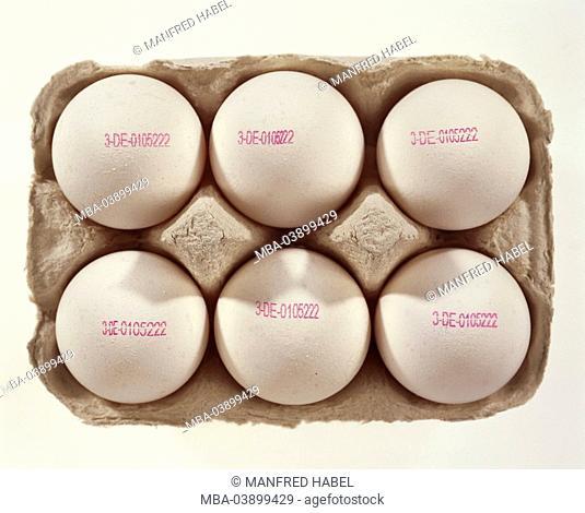 Eierschachtel, hen-eggs, stamps, knows producer-code, Eierkarton food egg Frühstücksei imprint, stand-form, Eierstempel, manufacturer-proof, trade, labeling