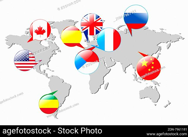 Flags of different countries on the gray map.Isolated on white. Elements of this image furnished by NASA