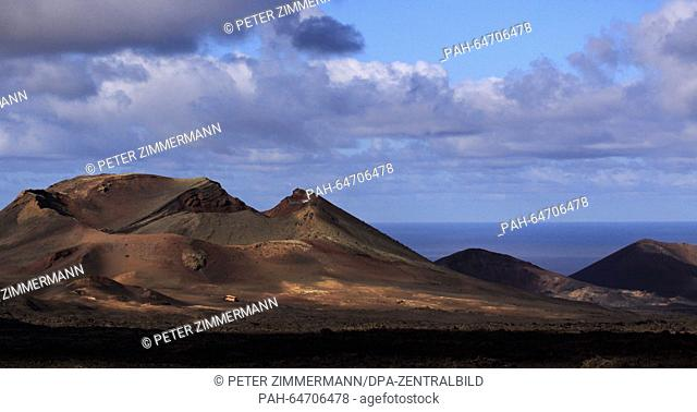 A glance of the Timanfaya National Park on the Canary Island Lanzarote, Spain, 09 October 2015. The Timanfaya National Park is in the southwestern part of the...
