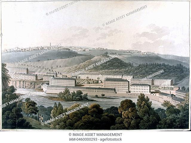 New Lanark Mills, Scotland  Robert Owen's 1771-1858 model community of cotton mills, housing, education, world's first day nursery, evening classes