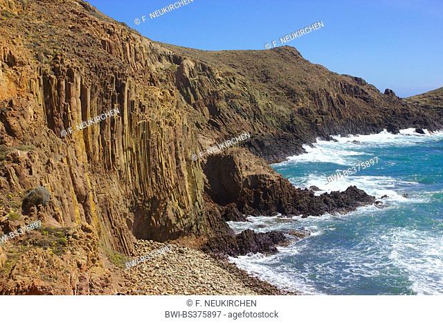 rocky coast with andesit lava, lava columns, Cabo de Gata, Spain, Andalusia, Cabo De Gata National Park