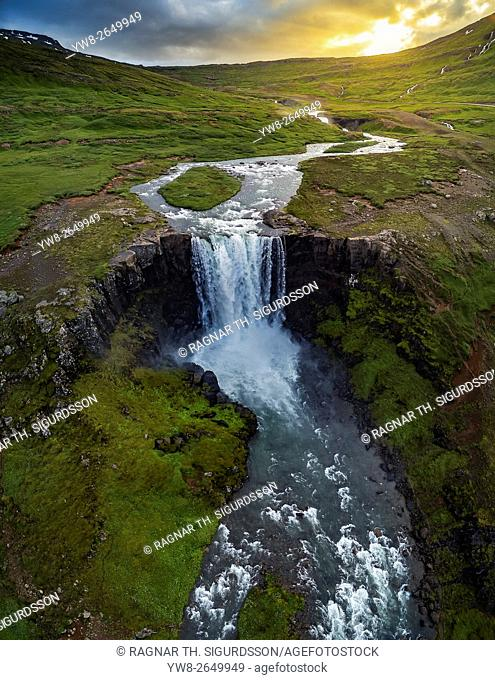 Gufufoss Waterfalls, Seydisfjordur, Iceland. This image is shot with a drone
