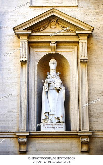 Statue of a Roman priest holding the secret text in his right hand, Sistine Chapel, Vatican Museum, Rome, Italy