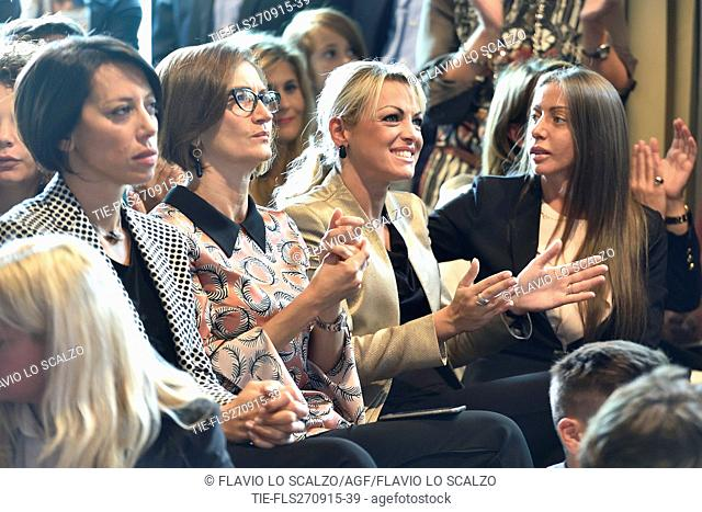 School of education policy titled #ForzaFuturo 2015 organized by Forza Italia party,fiancee of Silvio Berlusconi, Francesca Pascale ( the second on right ) with...
