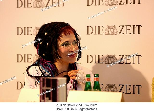 The Finnish-Estonian writer Sofi Oksanen presents her book 'When the Doves Disappeared' at the ZEIT publishing house stage during the Frankfurt Book Fair in...