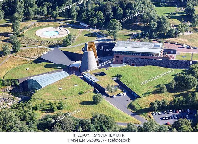 France, Puy de Dome, Saint Ours, Vulcania, volvanoes recreational park (aerial view)